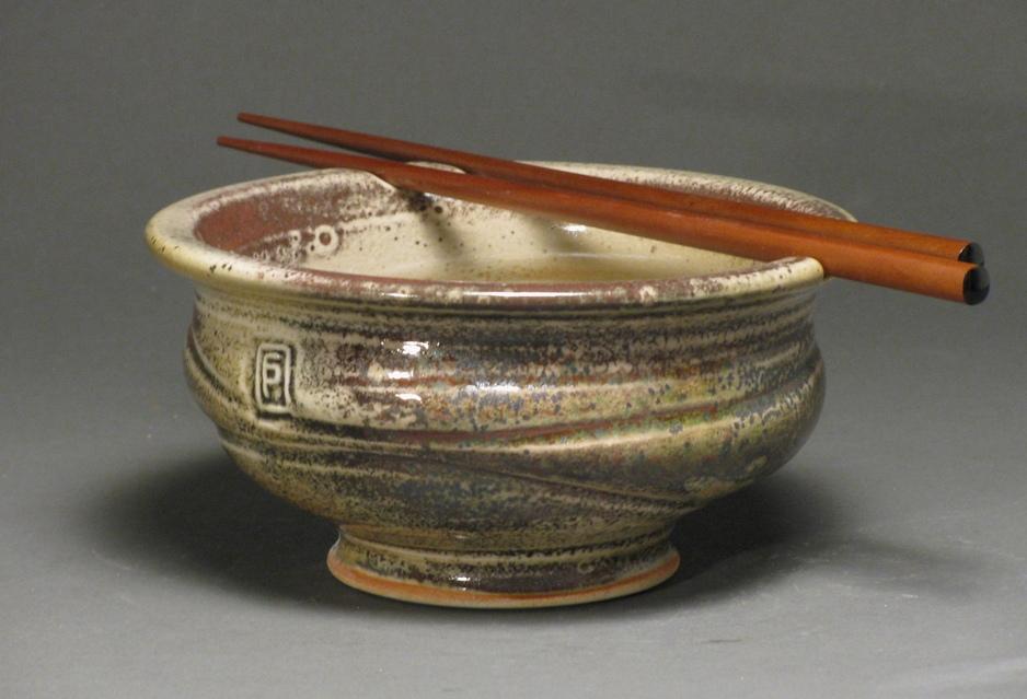"Noodle bowl  6"" diameter  Glazes: white shino and Rob's green"