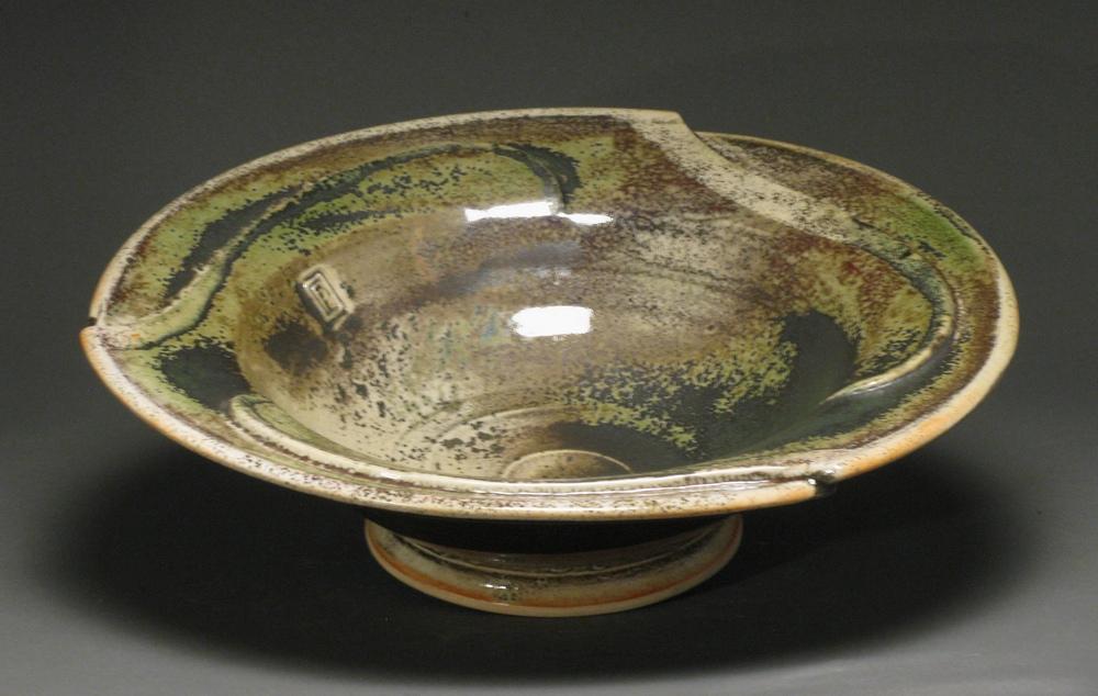 "Pinwheel bowl  13"" diameter  Glazes: white shino and Rob's green"