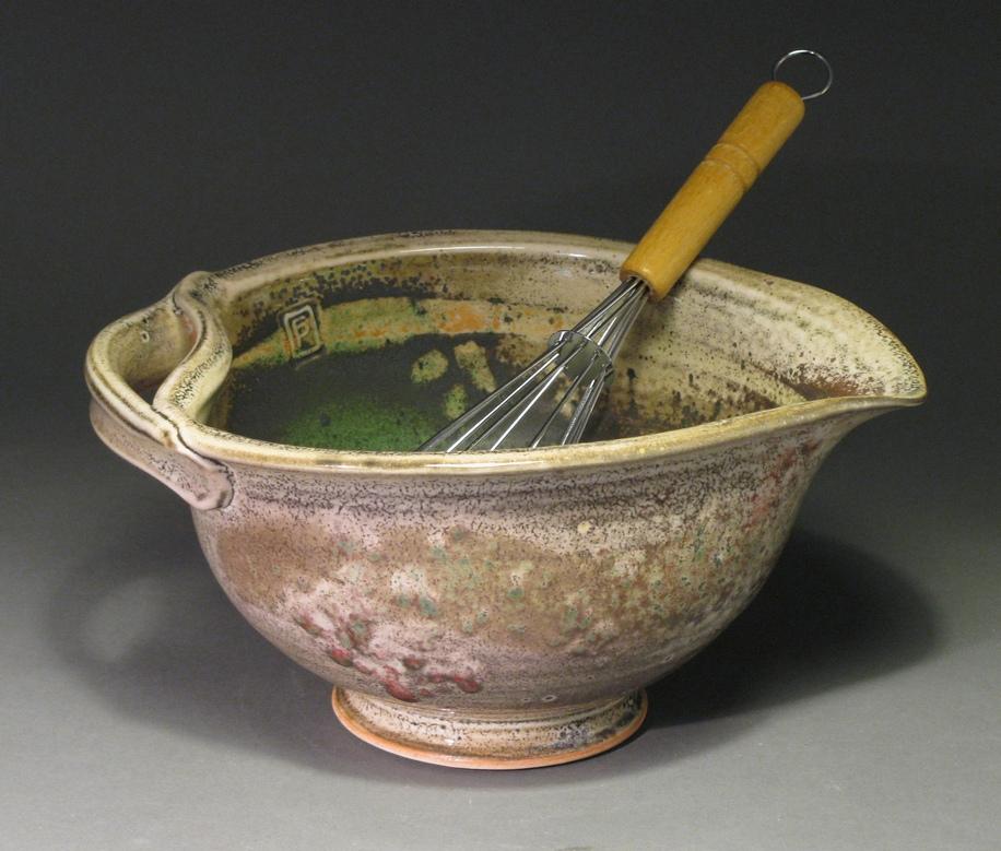 """Batter bowl  9"""" diameter  Glazes: white shino and Rob's green"""