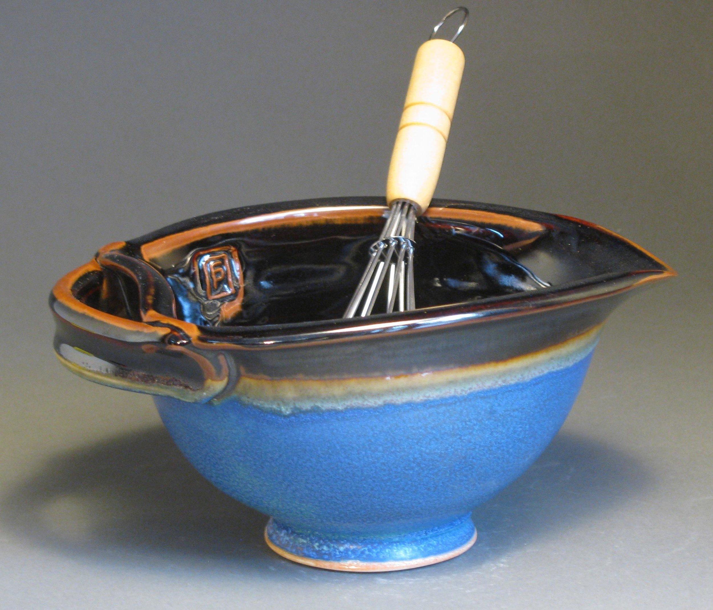 """Egg bowl  6.25"""" diameter  Glazes: matte blue and temmokui"""