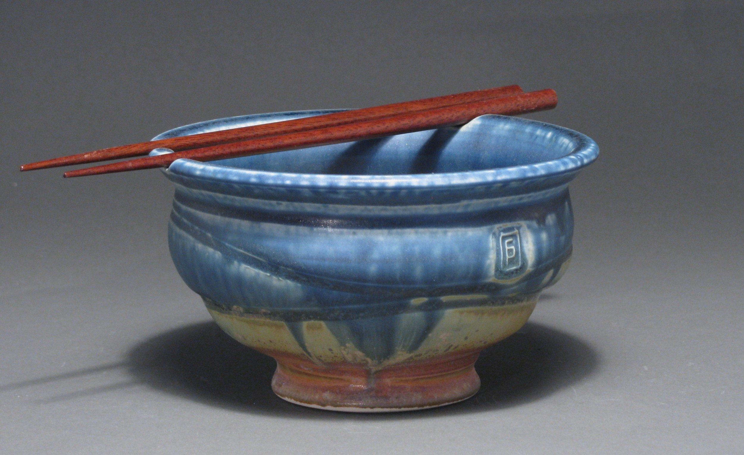"""Noodle bowl  6"""" diameter  Glazes: matte blue and matte rust"""