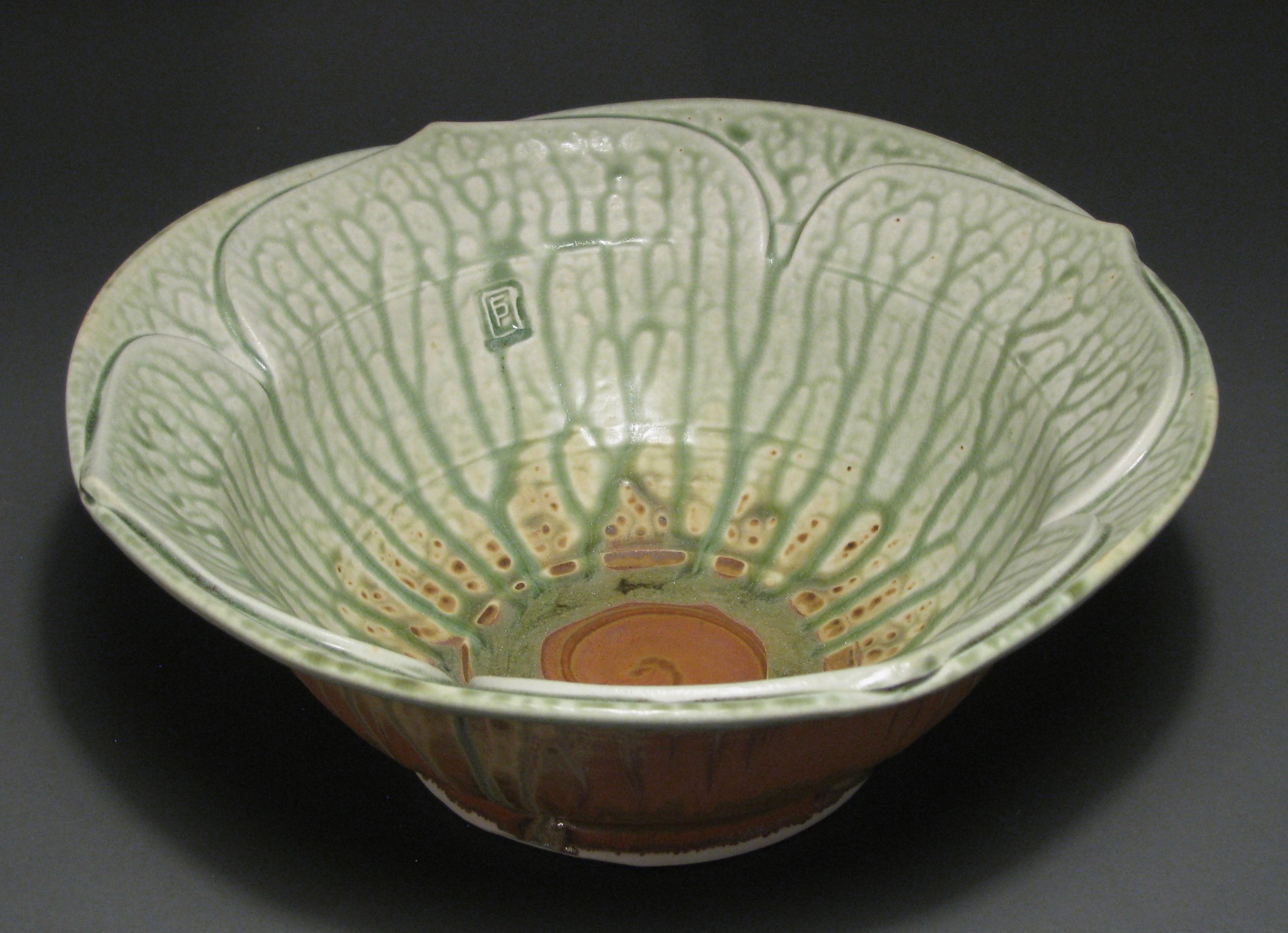 "Lotus bowl  11"" diameter  Glazes: Green ash and matte rust"