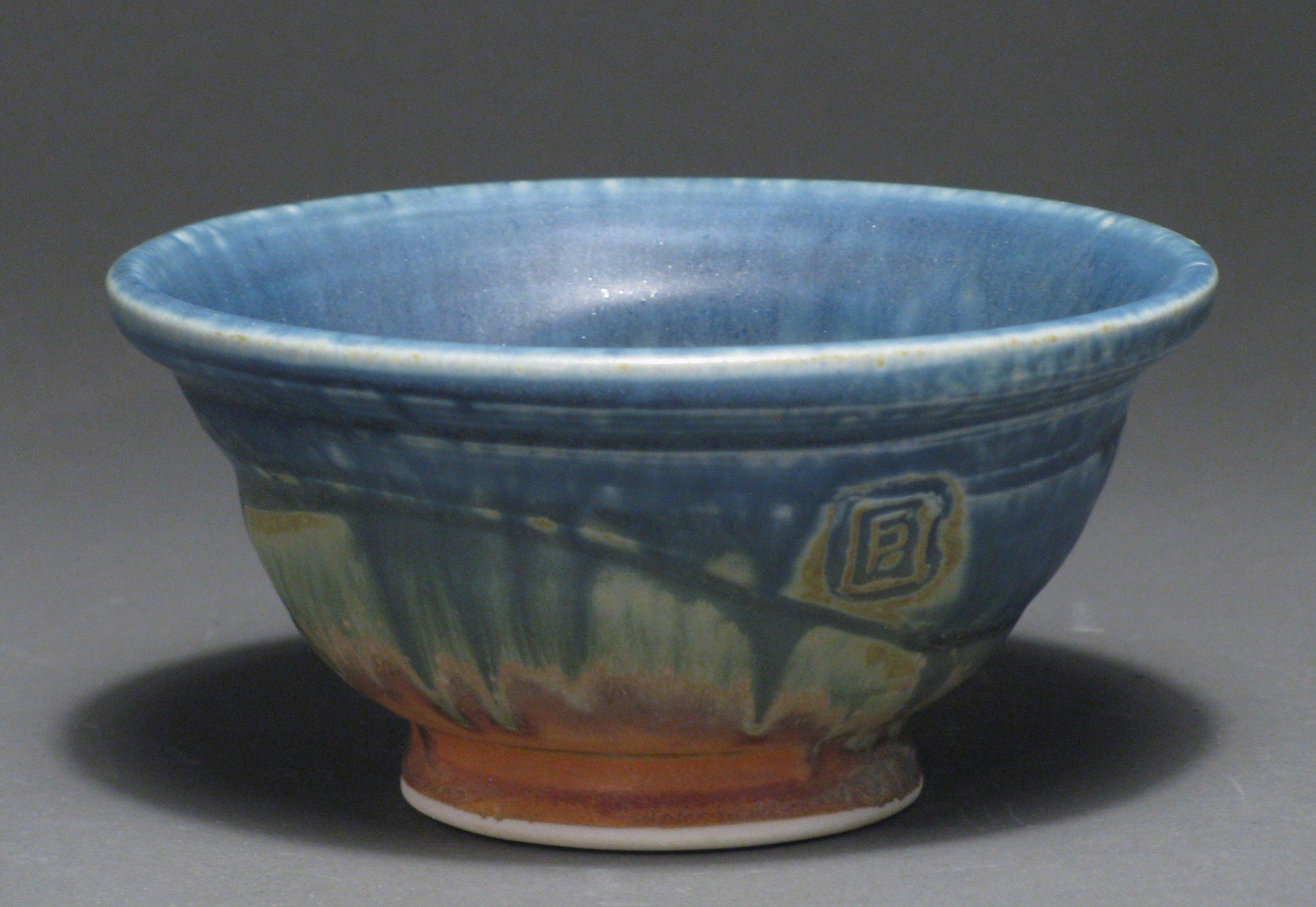 "Soup bowl  6"" diameter  Glazes: Matte blue and matte rust"