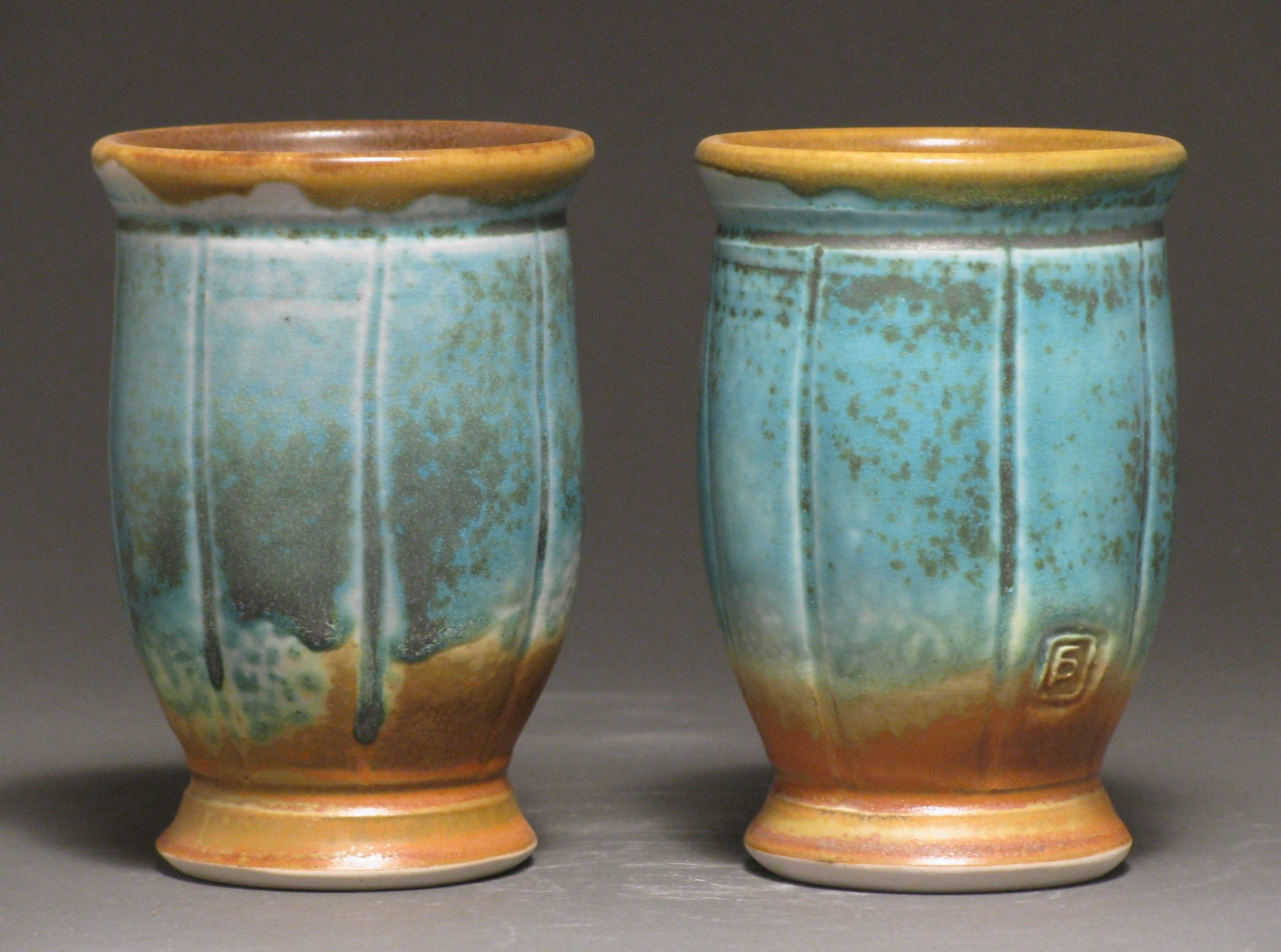 "Tumblers  5.5"" tall  Glazes: Matte turquoise and matte rust"