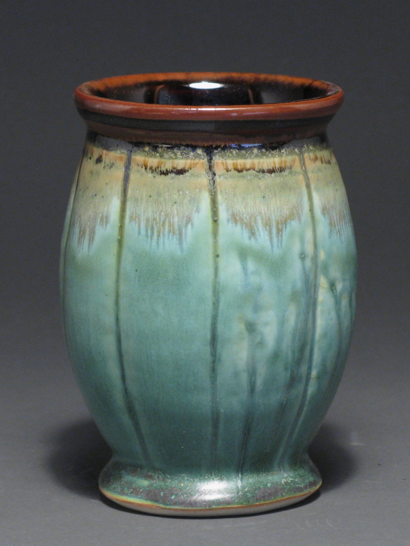 """Tumbler  5 1/2"""" tall  Glazes: Patina green and temmoku"""