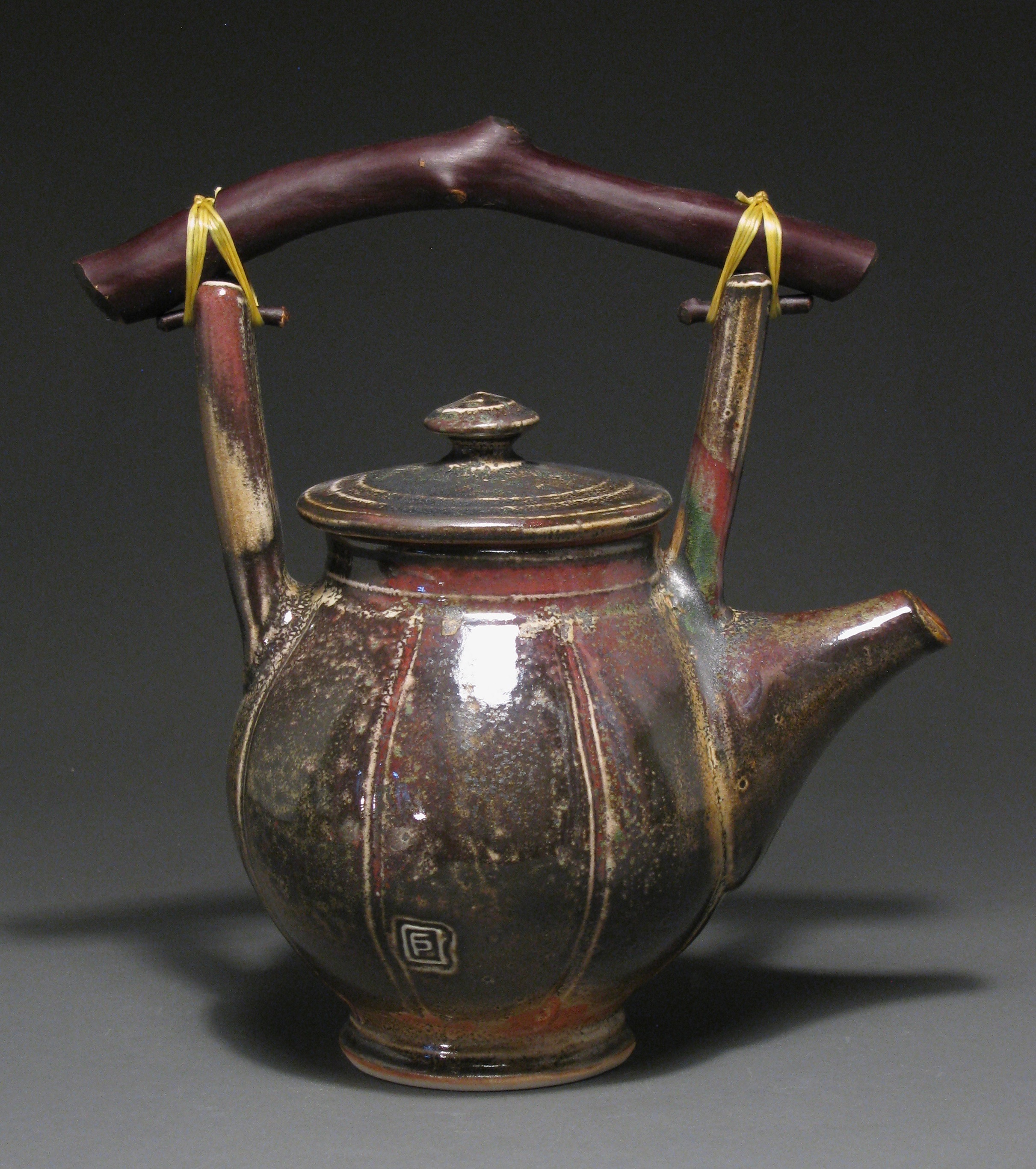 "Teapot  10"" tall  Glazes: Davis shino with Rob's green"