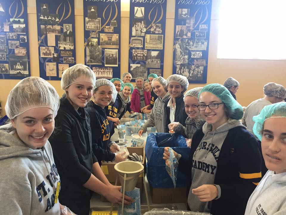 St. Ursula Academy Students Participate in an LNI Packing Event