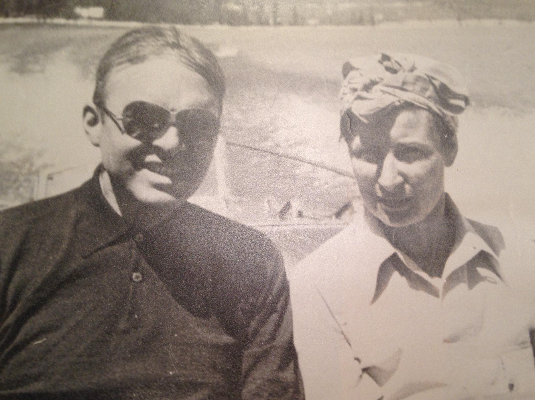 Paul G. Pennoyer and Frances Pennoyer enjoying a boat ride on Lake Tahoe,1937.