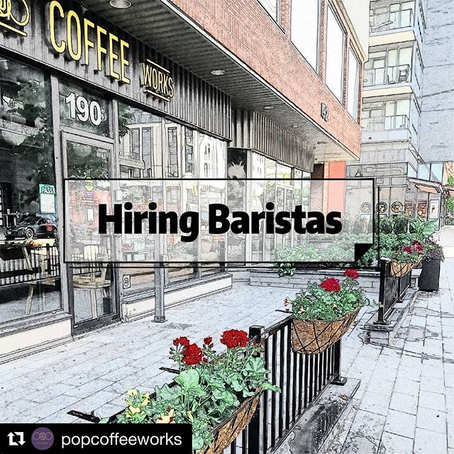 Our friends at @popcoffeeworks are hiring! Details👇 #torontocoffeejobs Repost @popcoffeeworks with @get_repost ・・・ We are hiring experienced baristas! Please send your resume to popcoffeeworks@gmail.com if you are interested 💜🚀🤘