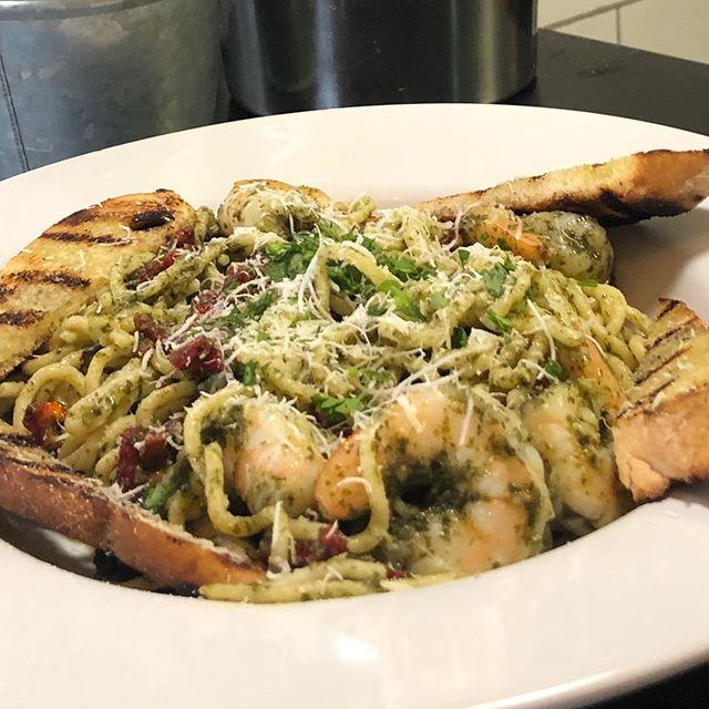 #freshpasta made daily in house. #shrimppestopasta special. #delicious #woodfiredpizza