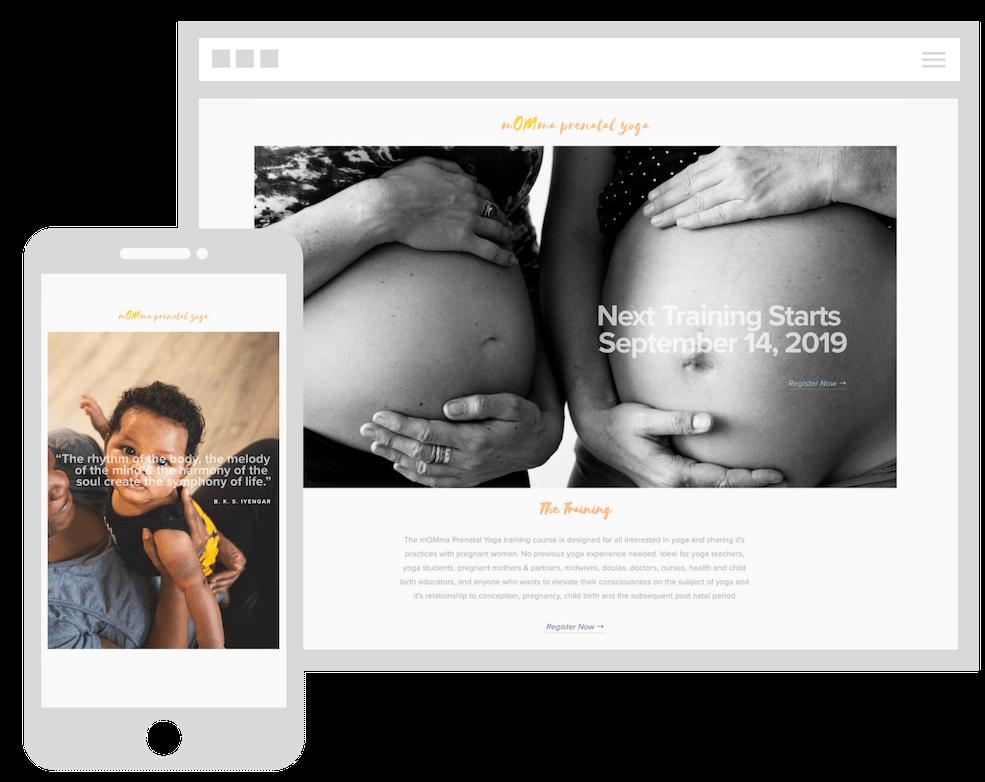 mOMma prenatal yoga web design portland