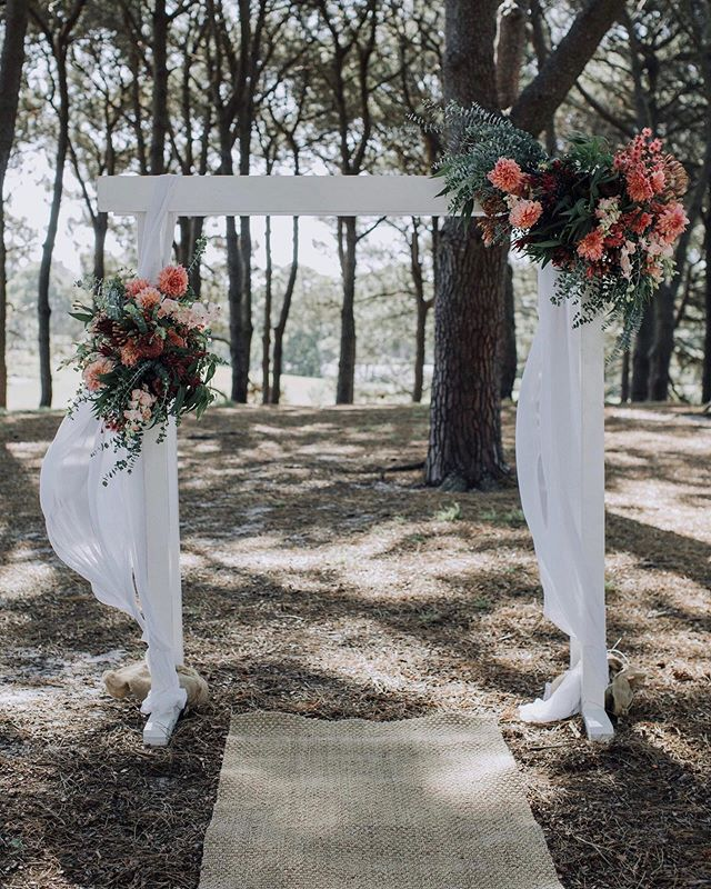 A magical, enchanted ceremony space set deep within the pines at Centennial Parklands. A LoveSick Wedding x