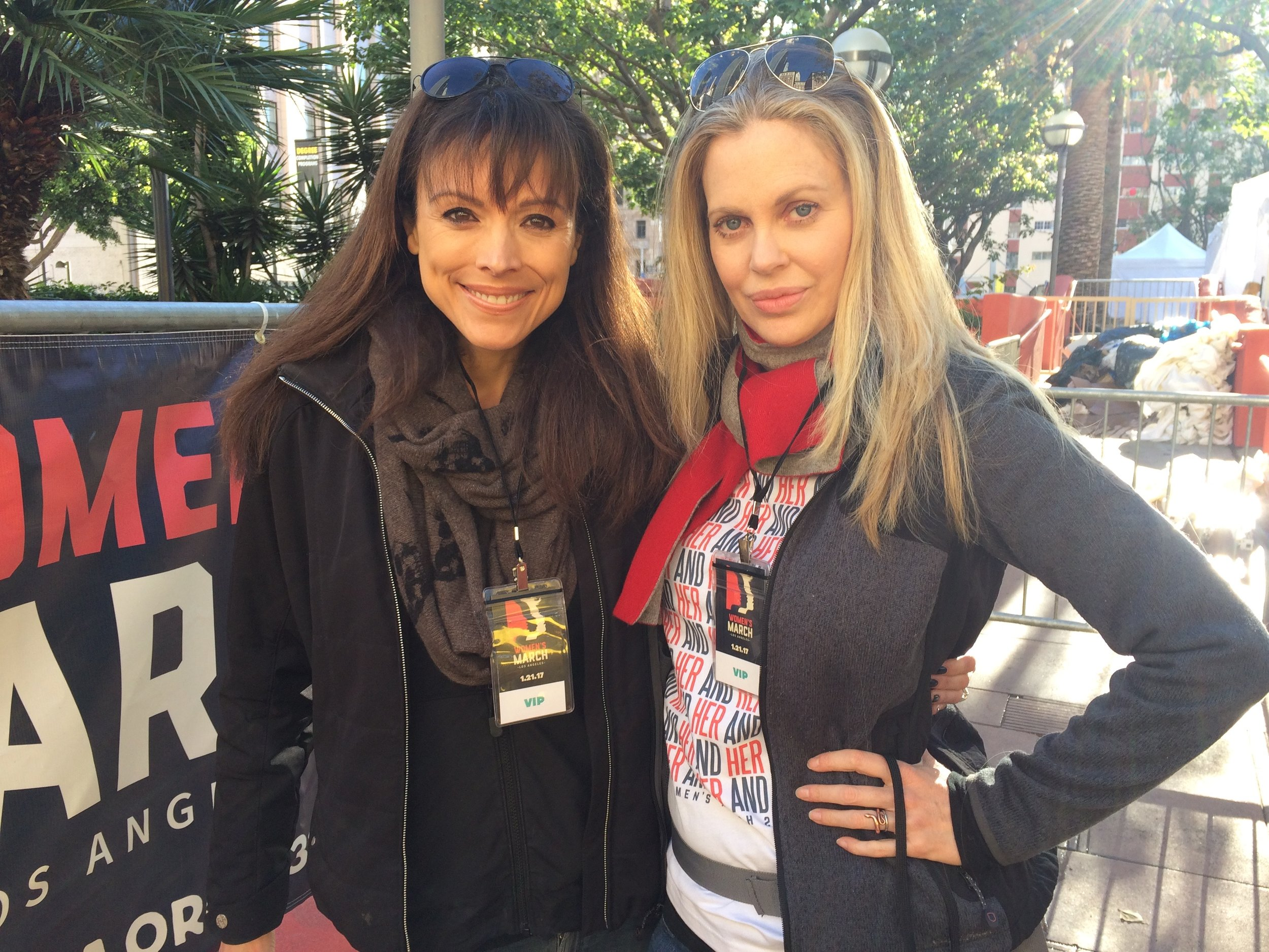 Actresses Liz Vassey and Kristin Bauer van Straten, proud and ready to march in Pershing Square. (Photo by Loud Owl)