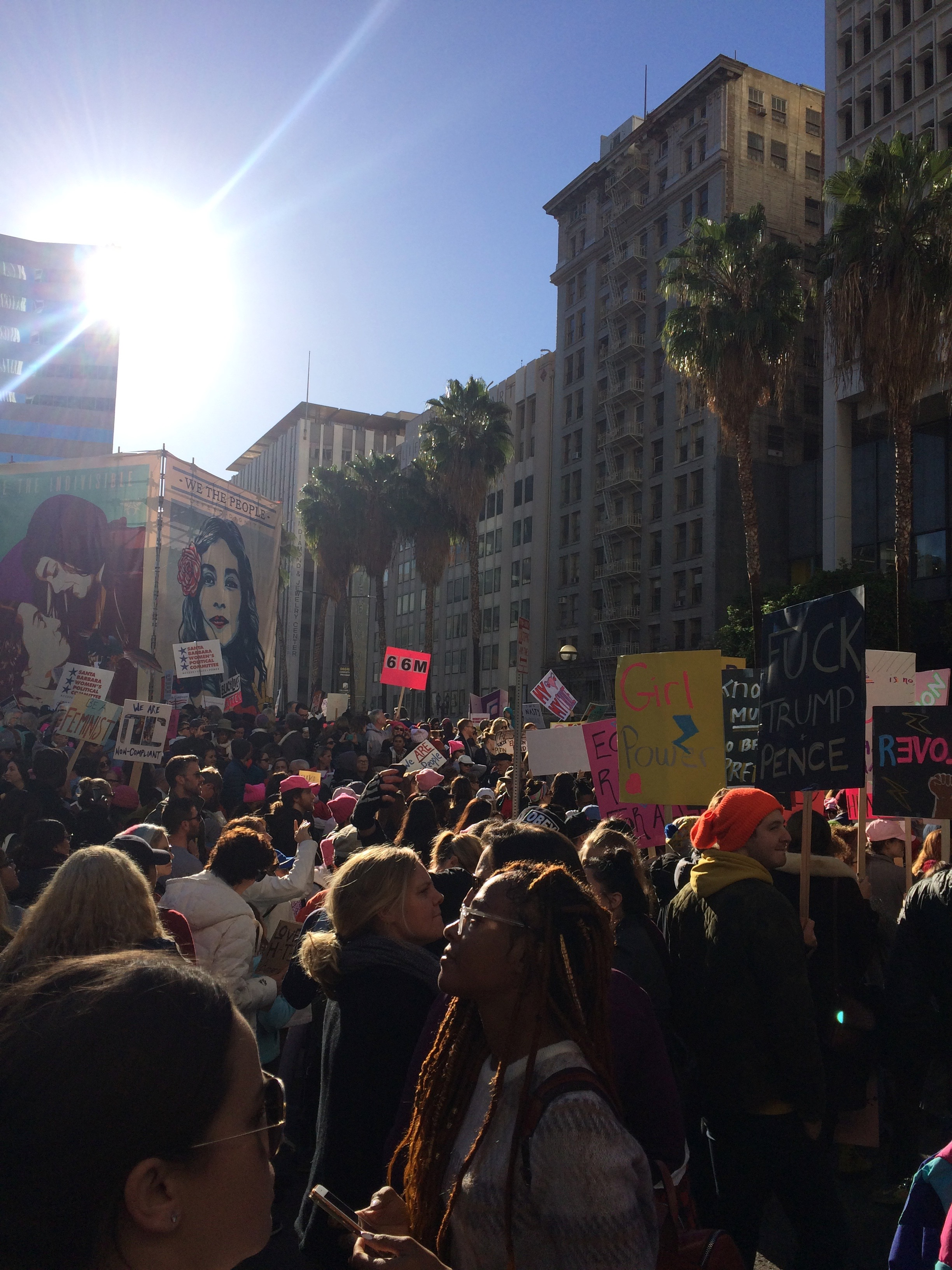Crowds assembled and ready outside of Pershing Square. (Photo by Loud Owl)