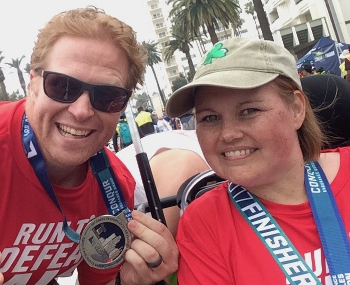 Eryn and Chad Blythe celebrate their completion of the 2017 L.A. Marathon for the ALS Association. (Photo by Loud Owl)