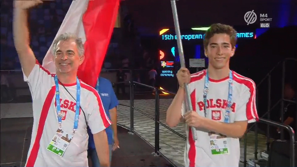 Neil and Harry Kaplan at 2019 European Maccabi Games Opening Ceremonies in Budapest