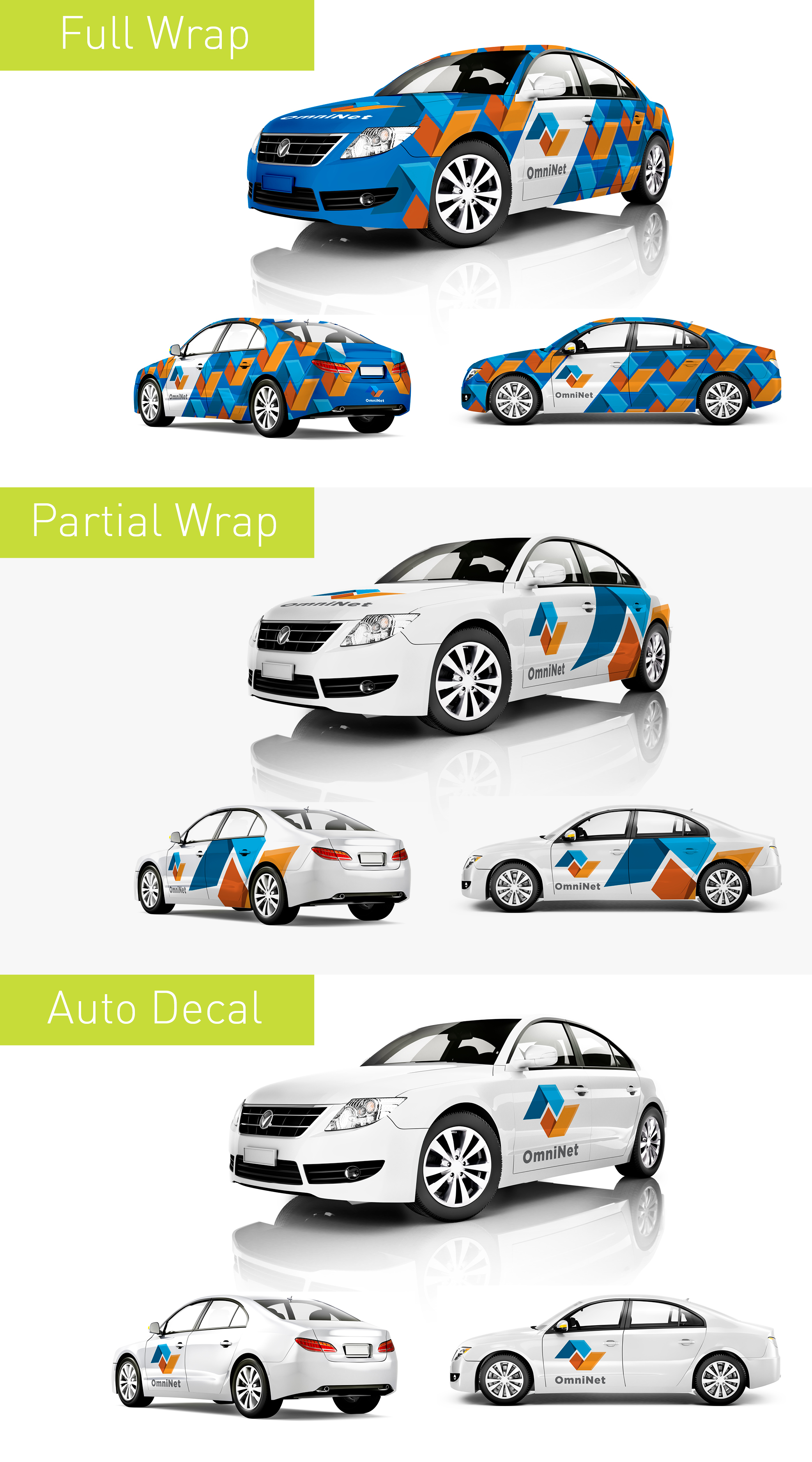 Full or partial vehicle wraps