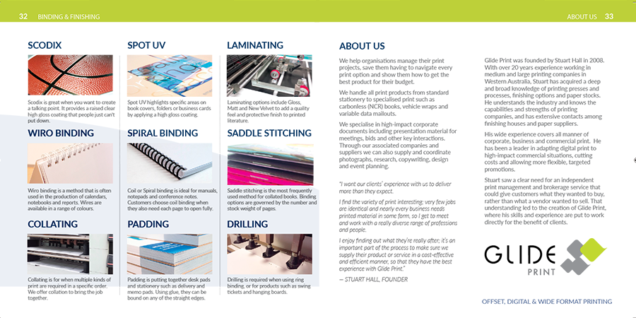 Glide Print's Print Guide, binding and finishing.