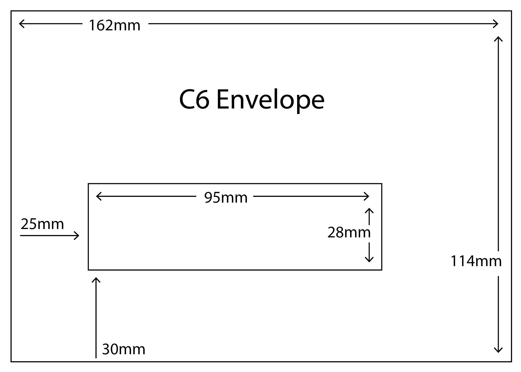 C6 Envelope with standard window size