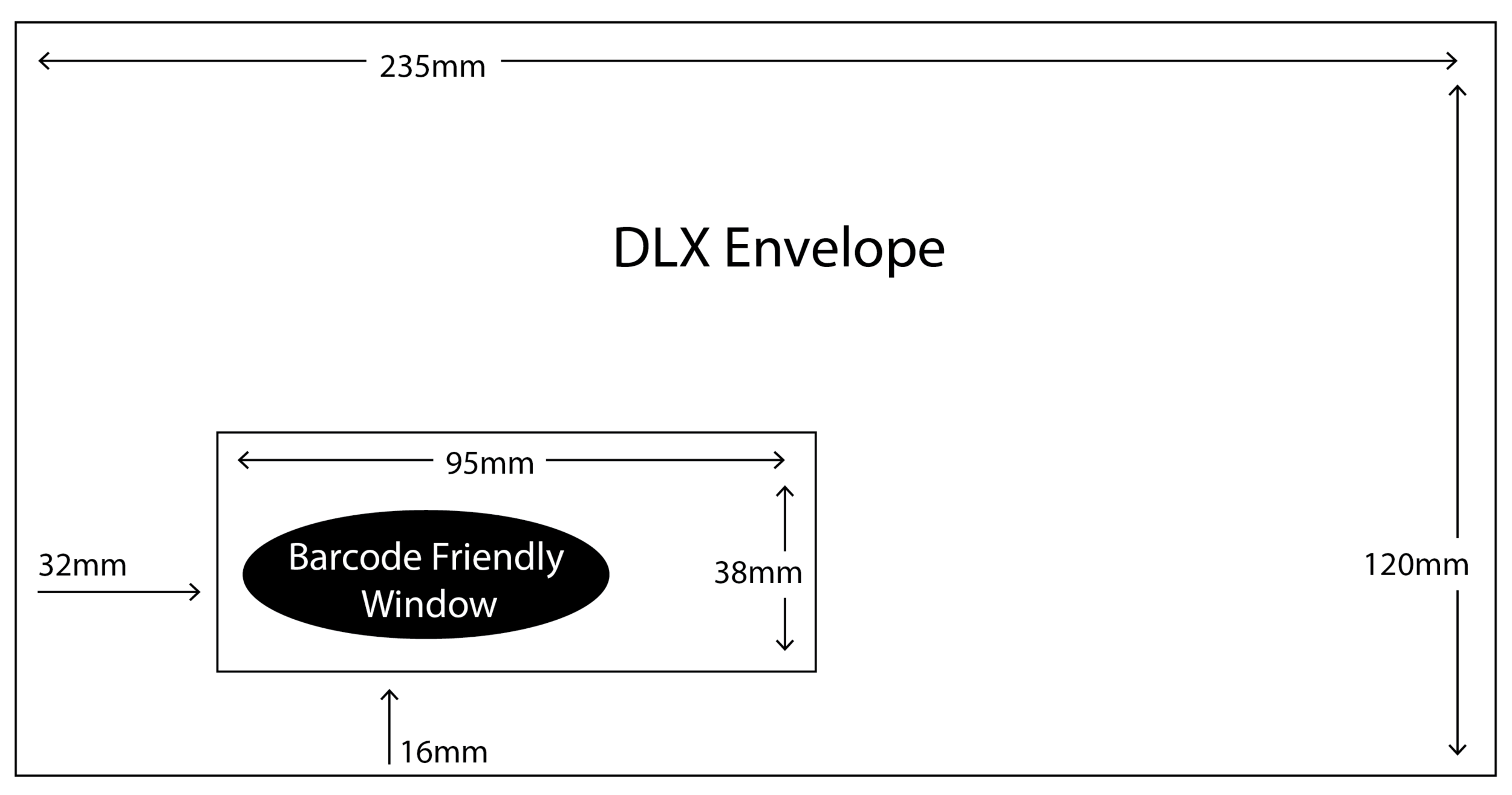 DLX Envelope with barcode friendly window size