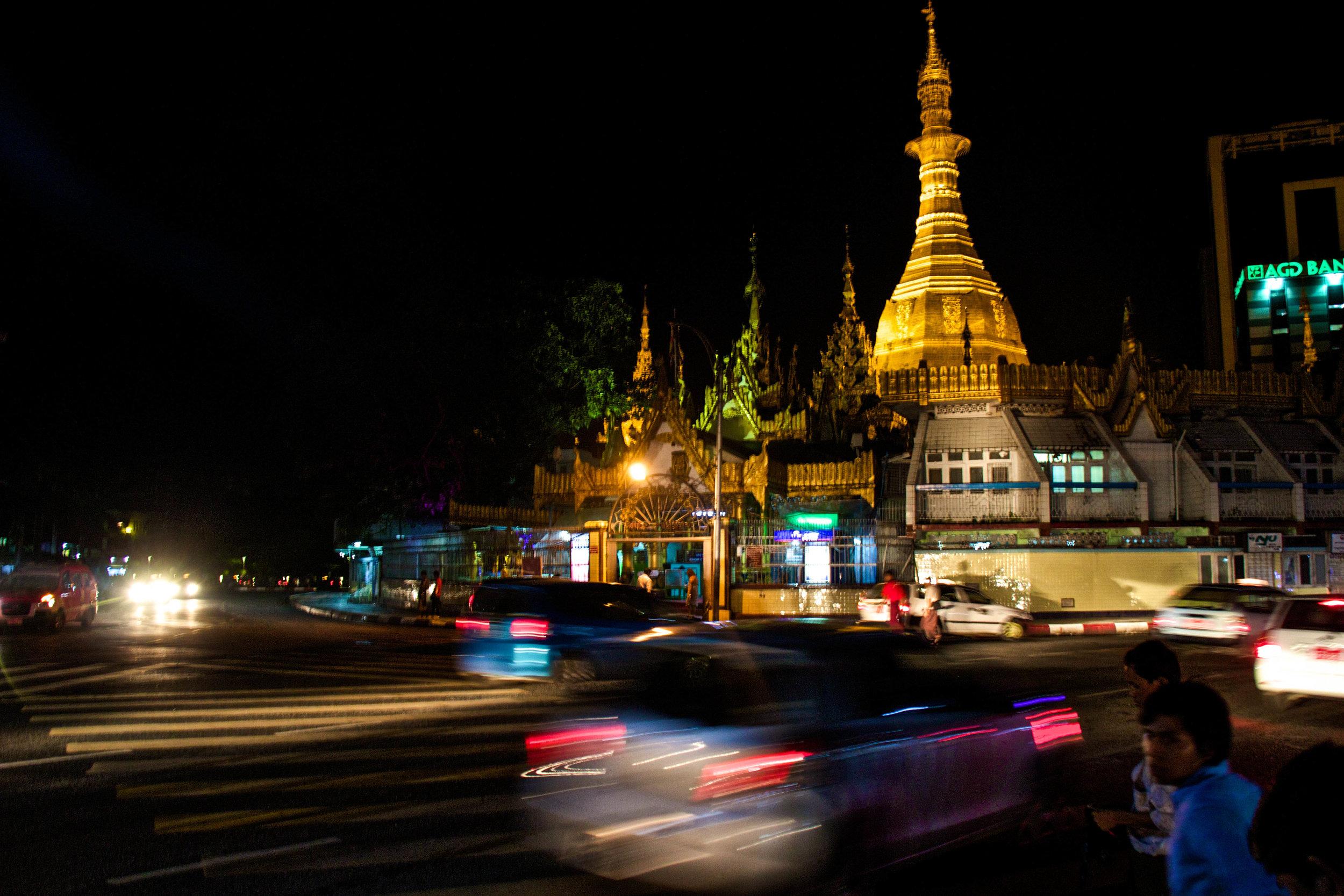 Rangoon (Yangon) Streets At Night