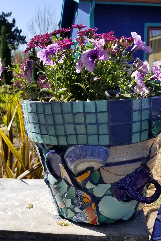 flower pot mosaic by Carole Watanabe Sebastopol CA