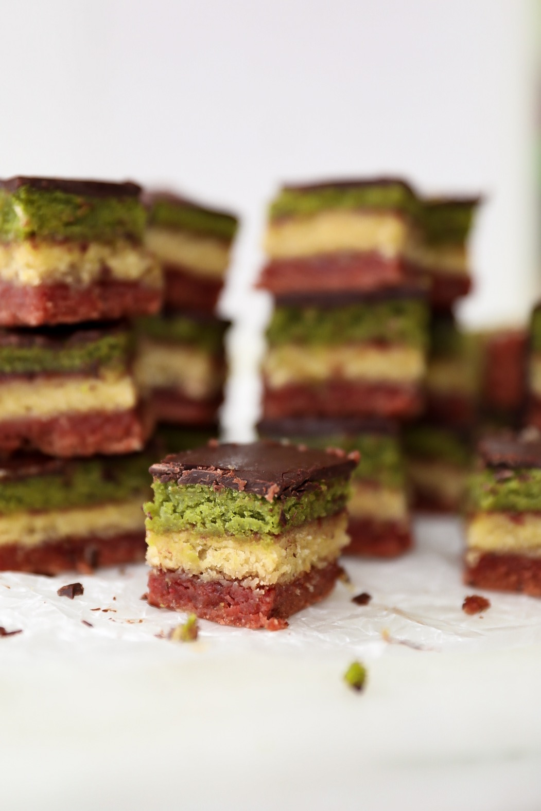 Rainbow cookies with matcha, almond and beet natural coloring