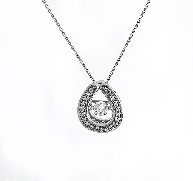 14K White Gold Dancing Diamond Pendant.