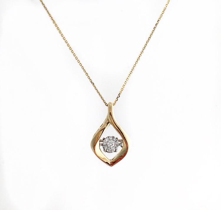 14K Yellow Gold Dancing Diamond Pendant.