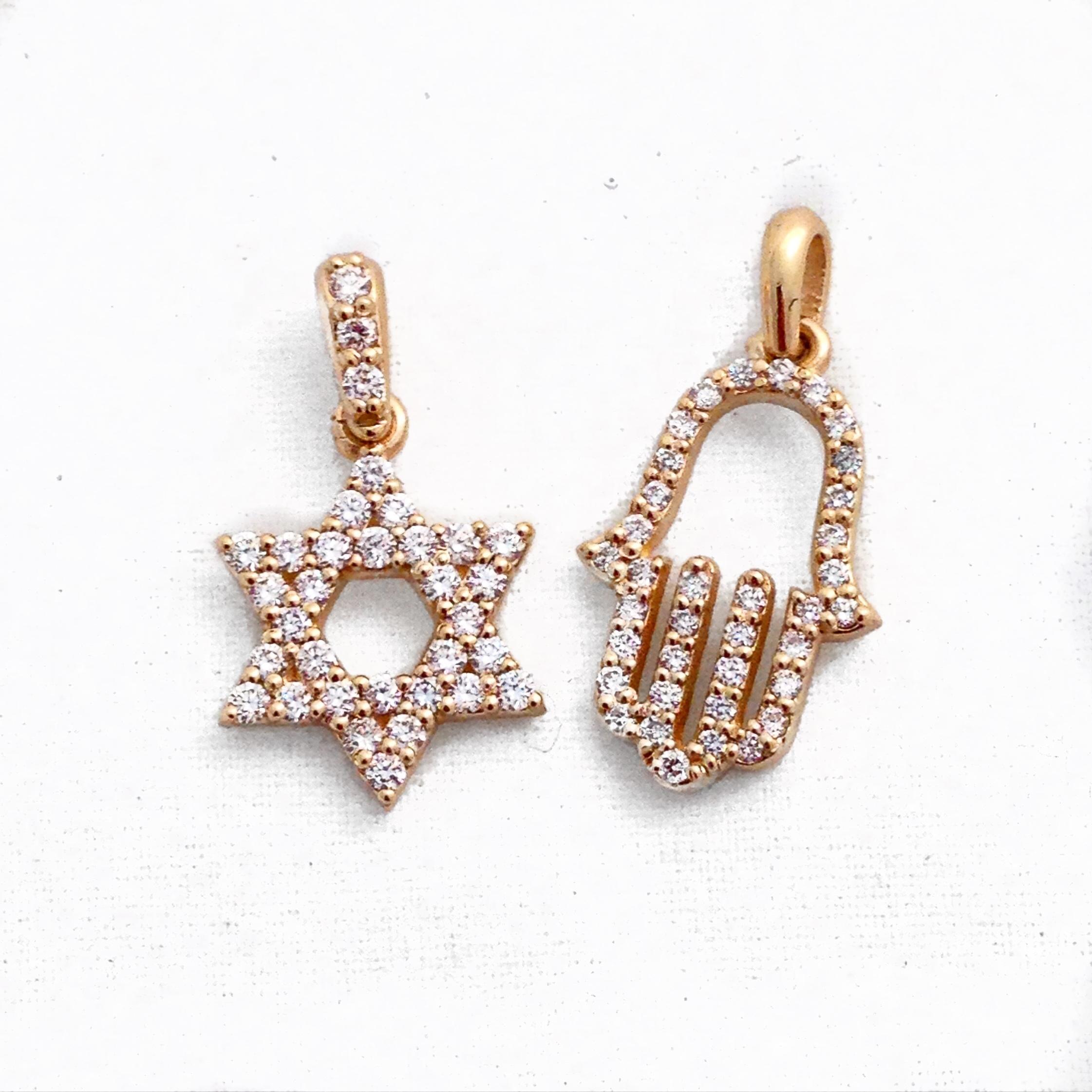 14K Yellow Gold Diamond Religious Pendants