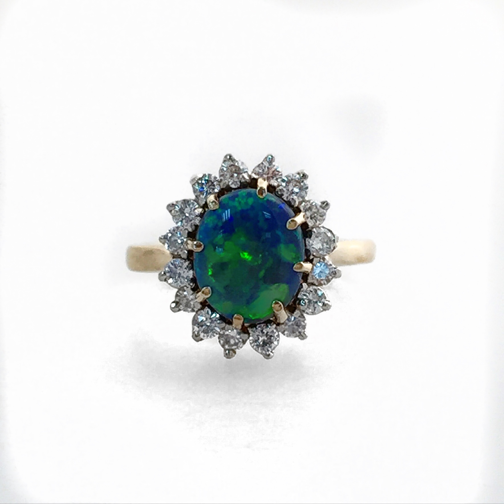 14K Yellow Gold Opal and Diamond Fancy Ring.