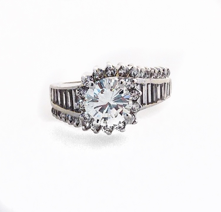 Platinum Fancy Diamond Ring.