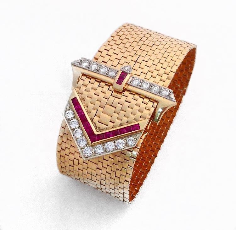 14K Rose Gold Diamond and Ruby Antique Buckle Bracelet.