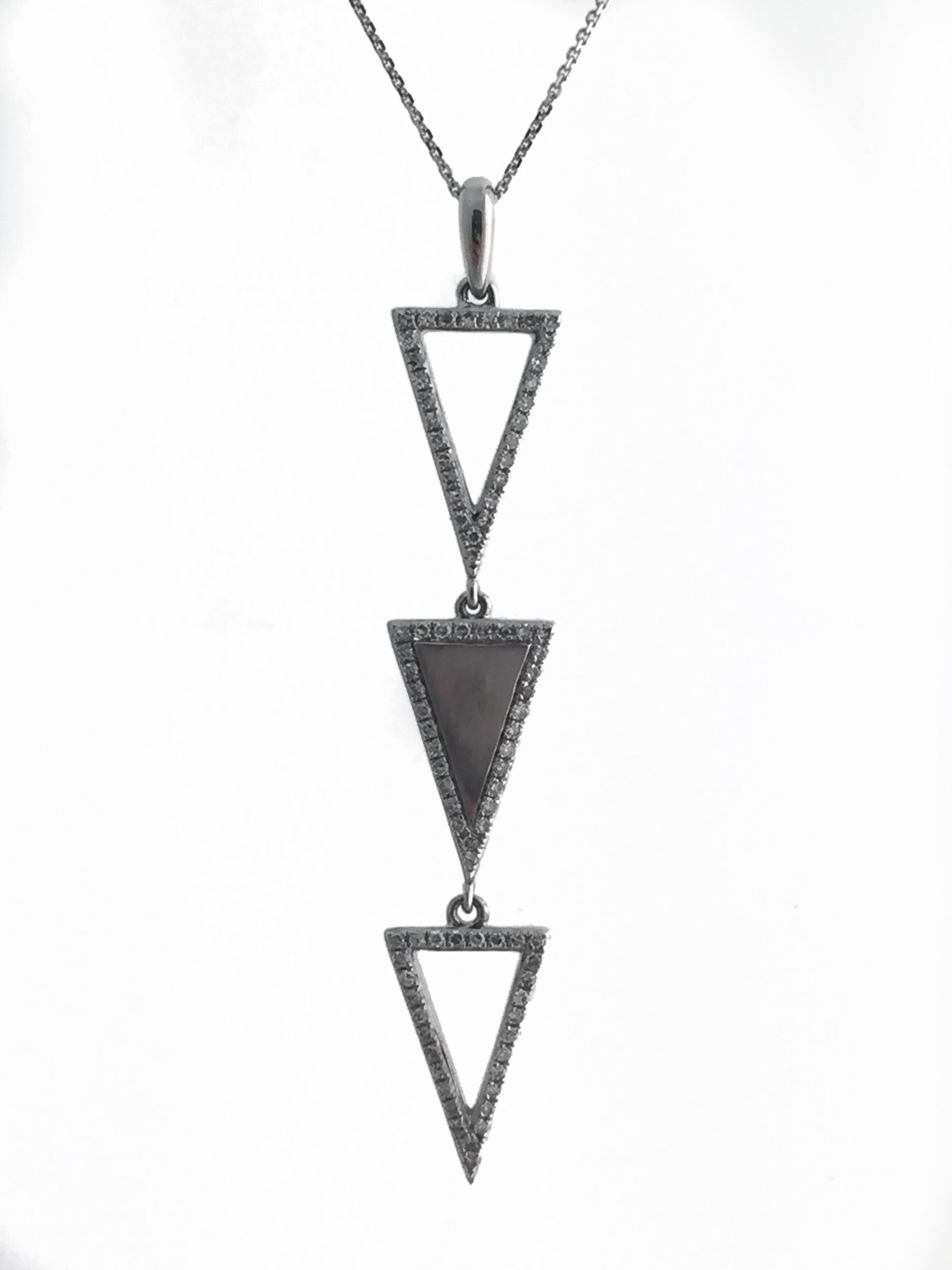 14K White Gold Stacked Triangle Diamond Pendant.