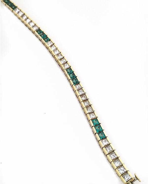 18K Yellow Gold Princess Cut Diamond and Emerald Fancy Bracelet.
