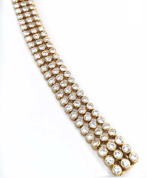 18K Yellow Gold Diamond 3 Row Bracelet.