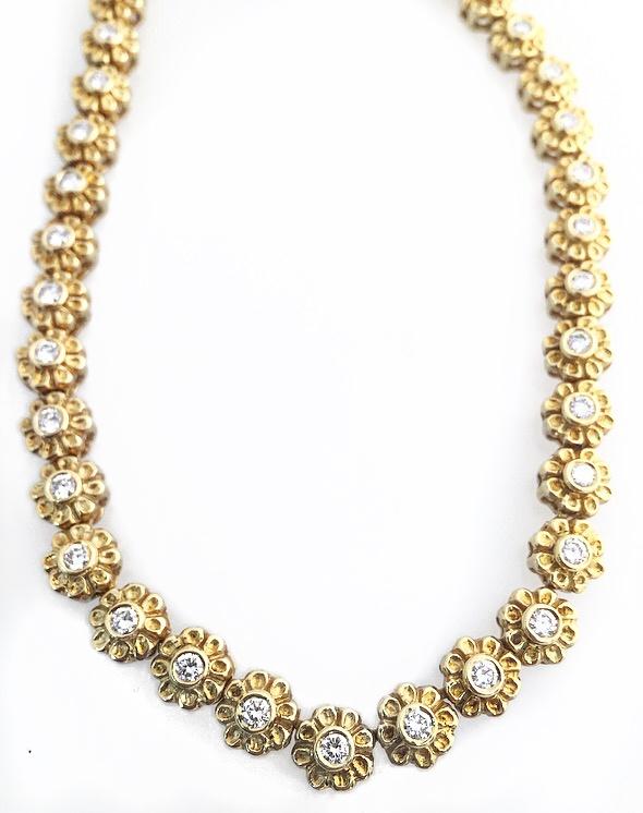18K Yellow Gold Diamond Flower Necklace.  Not Shown: 18K Yellow Gold Diamond Flower Bracelet.