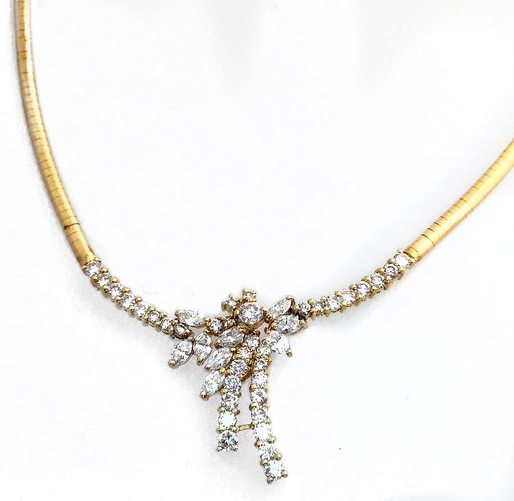 18K Yellow Gold Fancy Diamond Necklace.