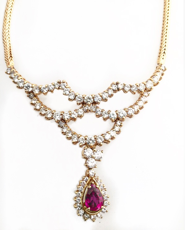 18K Yellow Gold Diamond and Ruby Fancy Necklace.