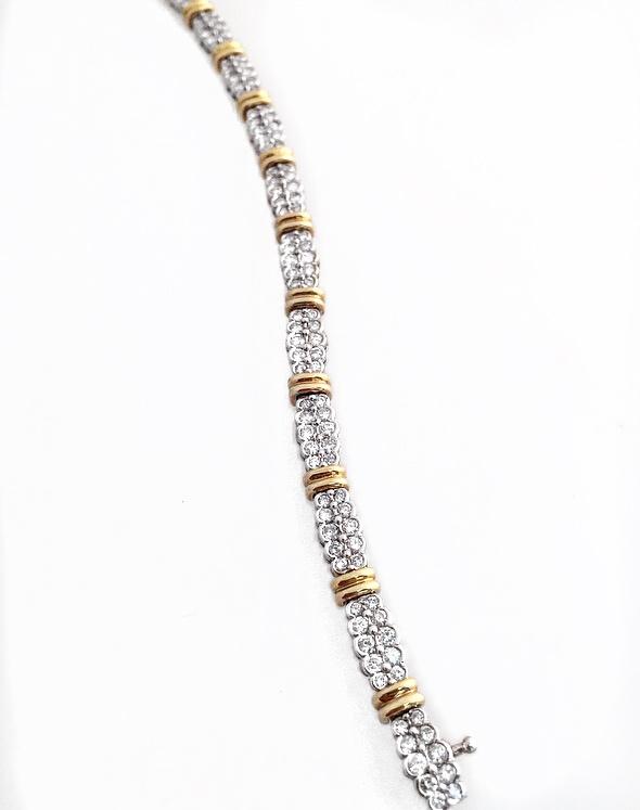 14K 2-tone Fancy Diamond Bracelet.