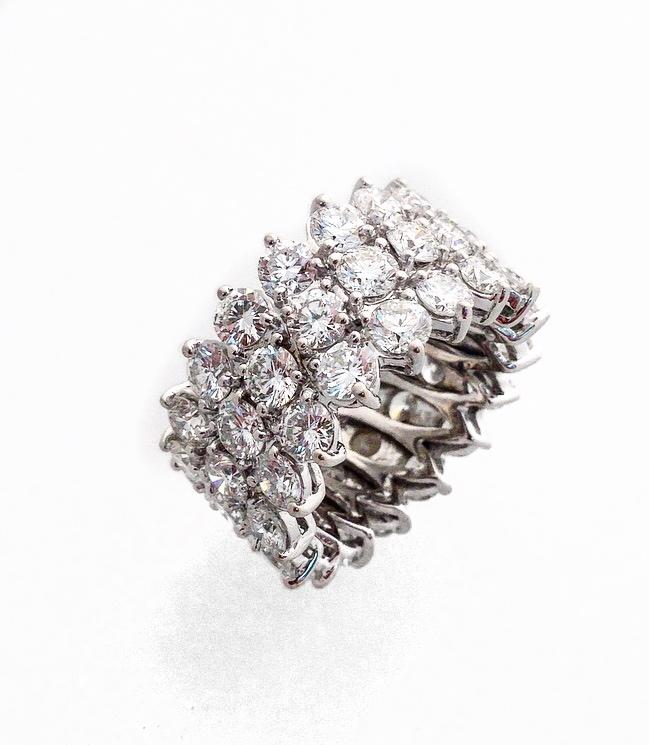14K White Gold 3-Row Diamond Fancy Ring.