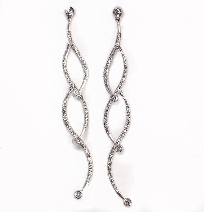 14K White Gold Diamond Fancy Dangling Earrings.