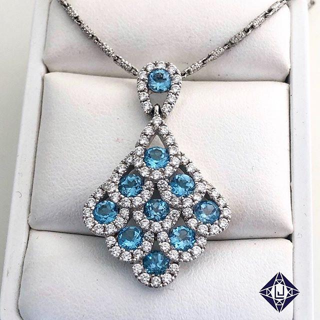 Custom aqua and Diamond pendant! #LiebrossJewelry for all your jewelry dreams!