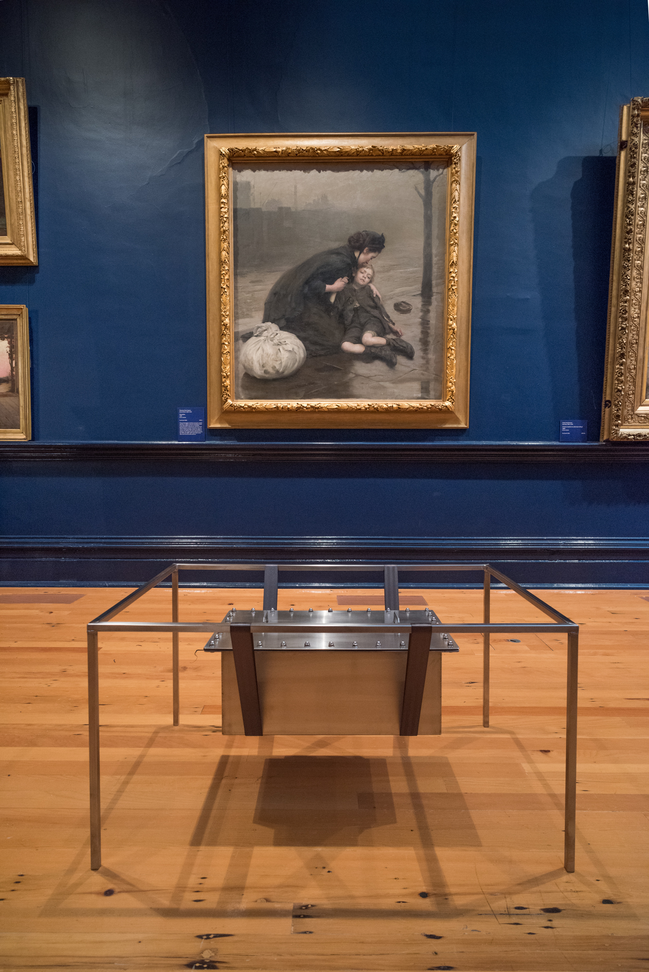 Letters to the Living (2018), installation view at Bendigo Art Gallery for  New Histories.  Photo: Ian Hill  Painting above: Thomas Kennington, Homeless, 1890, oil on canvas, Collection of Bendigo Art Gallery, Purchased 1906