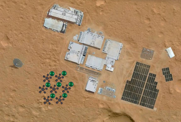 Algae growth domes on the Martian surface (theoretical)