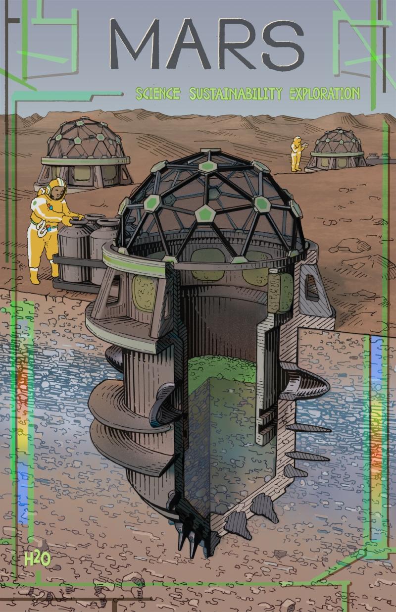Mars Poster design featuring borer diagram