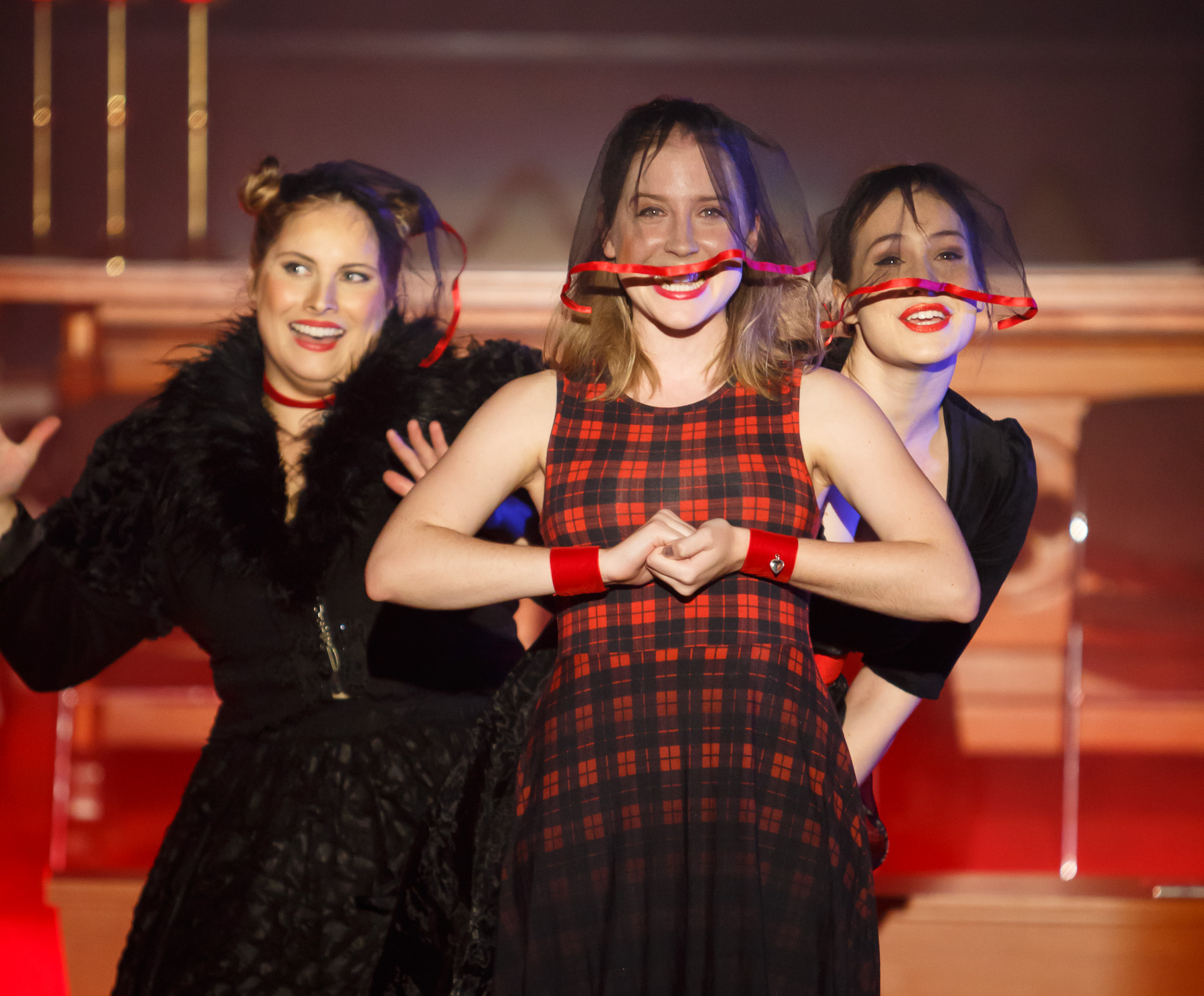 Pictured  : Winona (Hannah Belanszky), Wilhelmina (Paige Poulier) and Willow (Caitlin Hill).  Picture Credit  : Geoff Lawrence,  Creative Futures Photography.
