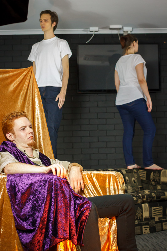 Pictured (L to R): Joker (Callum Pulsford), Harvey (Christopher Batkin), and Loretta (Jackie Sutton ), Mediocrity (Everything You've Ever Wanted), 23 May 2015. Picture credit: Geoff Lawrence.