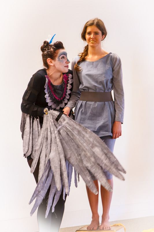 Prince  (Courtney Turner, Director) and  Swallow  (Gemma Sharpe), in  The Happy Prince , at the  State Library of Queensland , as part of the  2015 Brisbane Anywhere Festival .  Picture credit:   Geoff Lawrence .