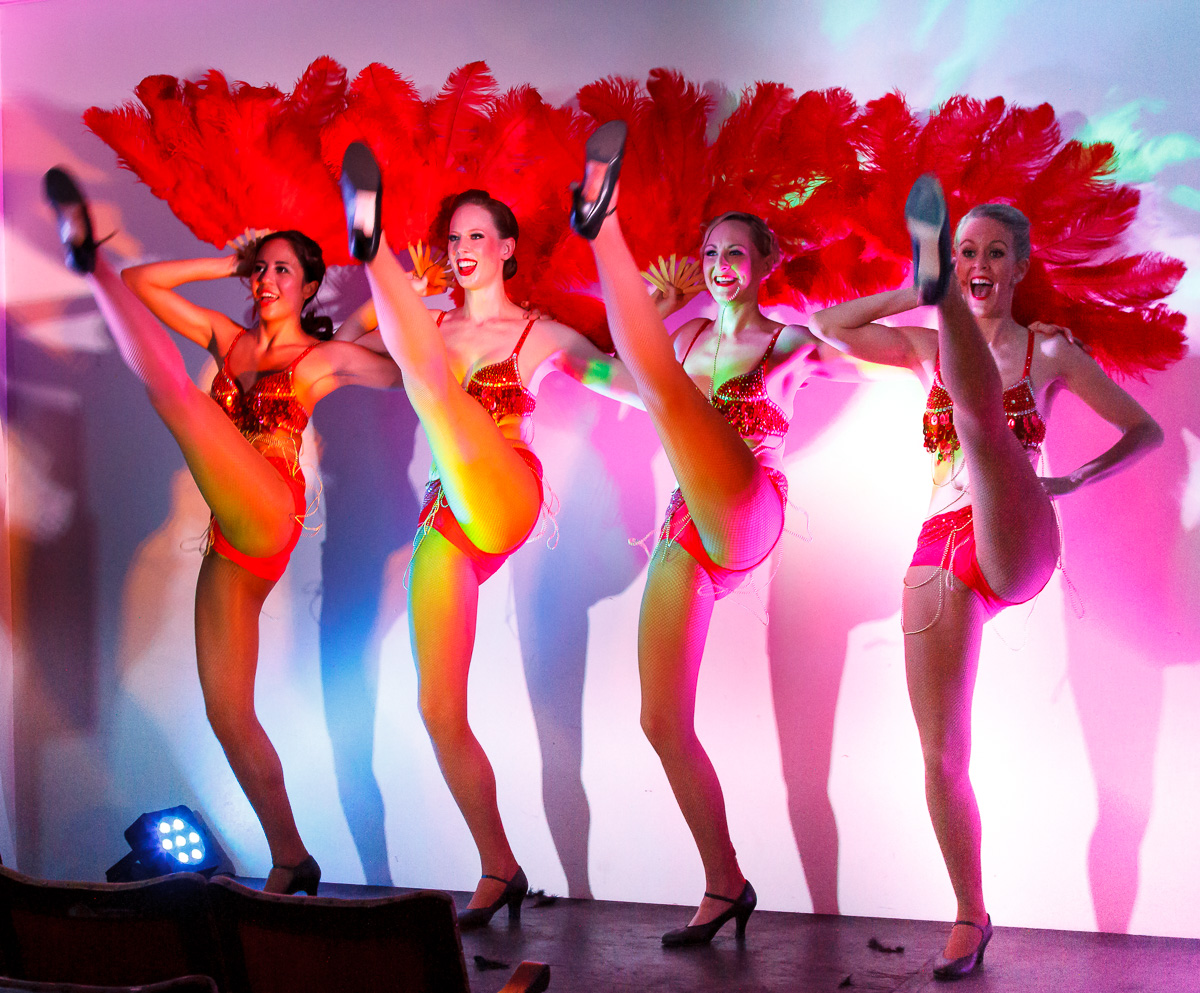 Pictured: Jenny Usher, Erin Coates, Maureen Bowra, and Natalie Renouf. à la Moulin Rouge!, in The Jazz Age Dance Cabaret (9th May 2015). Picture credit: Geoff Lawrence.